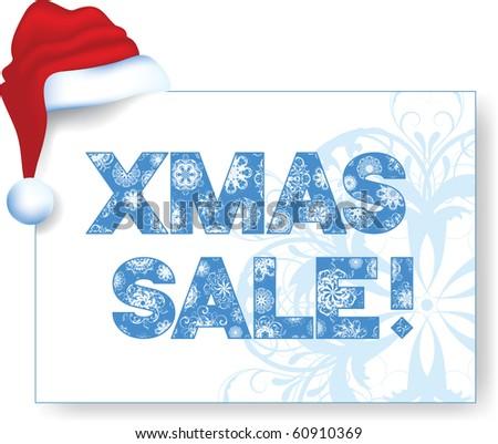 """xmas sale"" banner with Santa's hat, vector - stock vector"