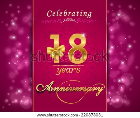 18 Year Anniversary Celebration Sparkling Card Stock Vector Royalty