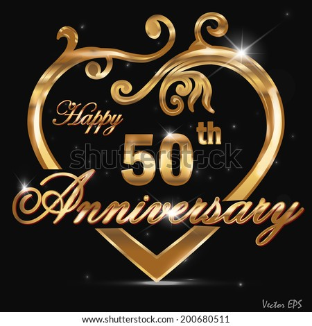 50 year anniversary golden heart, 50th anniversary decorative golden heart design - vector eps10 - stock vector