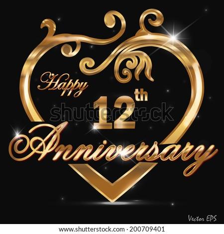 12 year anniversary golden heart, 12th anniversary decorative golden ...