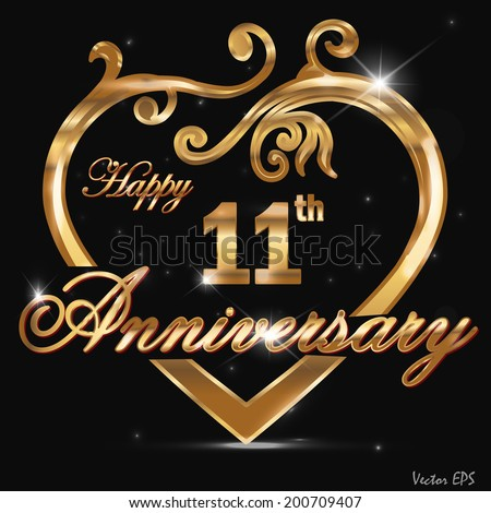 11 year anniversary golden heart 11 th stock vector royalty free