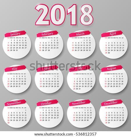 2018 year calendar design vector illustration stock vector 536812357 shutterstock