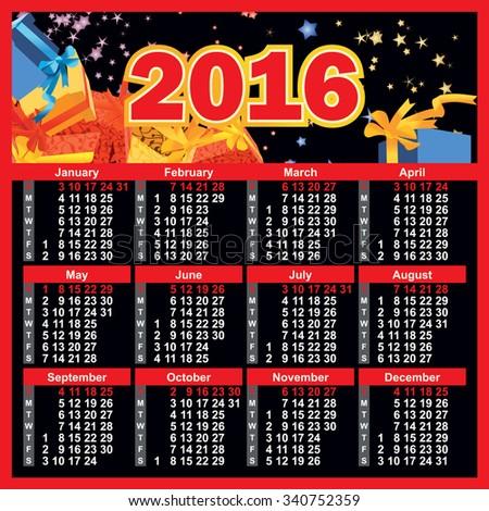2016 year calendar english - stock vector