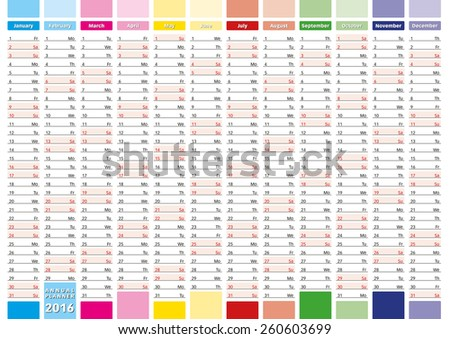 2016 Year calendar in english. Elegant annual planner for year 2016. - stock vector