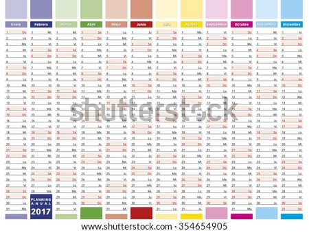 2017 Year calendar in spanish. Elegant annual planner for year 2017. - stock vector