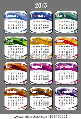 2013 year calendar in vector