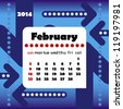2014 year calendar in vector with arrows. February - stock photo