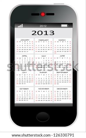 2013 year calendar on abstract design Smartphone. Vector illustration - stock vector