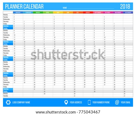 2018 yearly calendar template