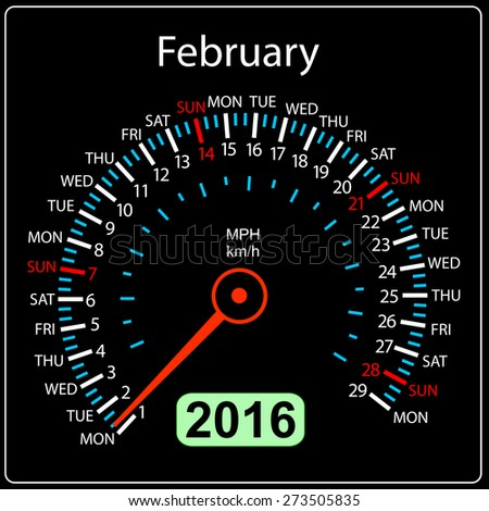 2016 year calendar speedometer car. February. Vector illustration. - stock vector