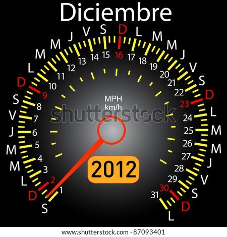 2012 year calendar speedometer car in Spanish. December - stock vector