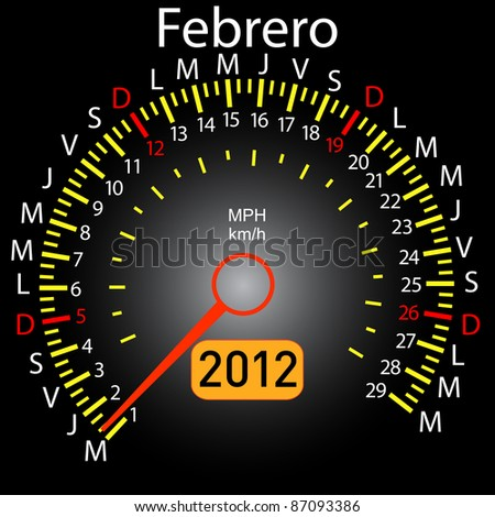 2012 year calendar speedometer car in Spanish. February - stock vector