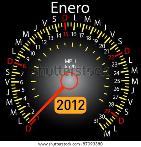 2012 year calendar speedometer car in Spanish. January - stock vector