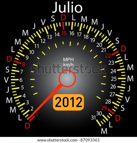 2012 year calendar speedometer car in Spanish. July - stock vector