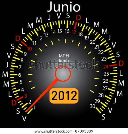 2012 year calendar speedometer car in Spanish. June - stock vector