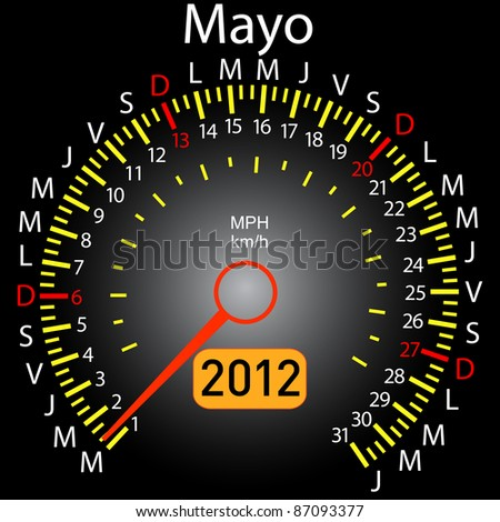 2012 year calendar speedometer car in Spanish. May - stock vector