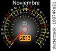 2013 year calendar speedometer car in Spanish. November - stock vector