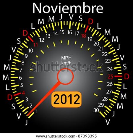 2012 year calendar speedometer car in Spanish. November - stock vector