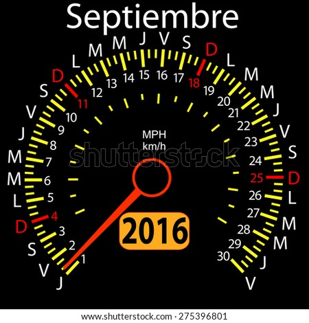 2016 year calendar speedometer car in Spanish, September. Vector illustration. - stock vector