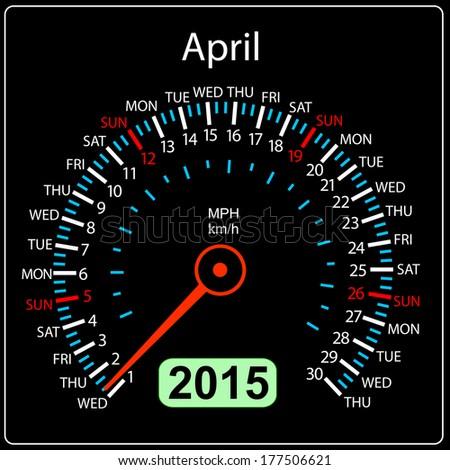 2015 year calendar speedometer car in vector. April. - stock vector
