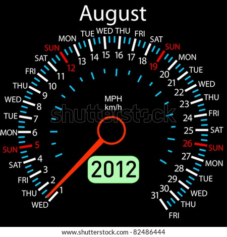 2012 year Calendar speedometer car in vector. August. - stock vector