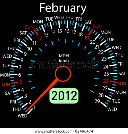 2012 year Calendar speedometer car in vector. February. - stock vector