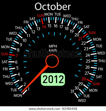 2012 year Calendar speedometer car in vector. October. - stock vector