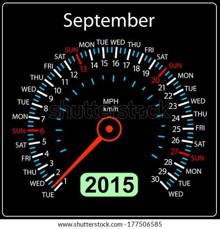2015 year calendar speedometer car in vector. September. - stock vector