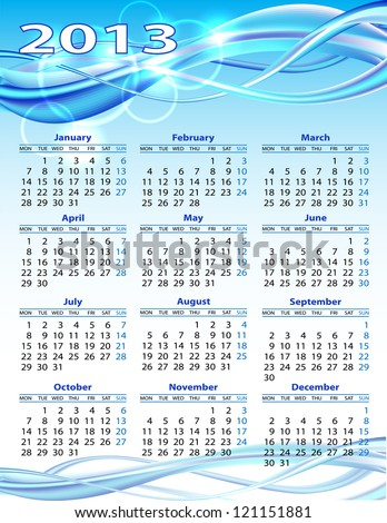 2013 year calendar. Vector illustration on blue background - stock vector