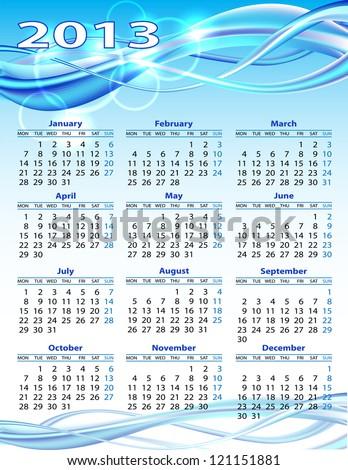 2013 year calendar. Vector illustration on blue background - stock vector