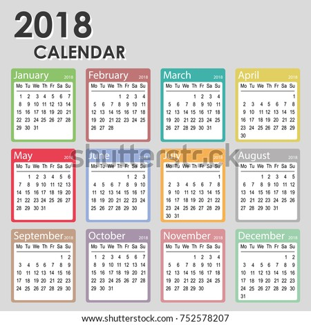 2018 Year Calendar Week Starts On Stock Photo Photo Vector