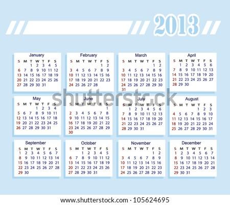2013 year calendar (week starts on Sunday) - stock vector