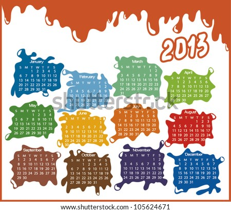 2013 year calendar with abstract drops (week starts on Sunday) - stock vector