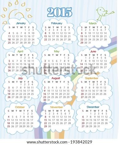 2015 year calendar with rainbow (week starts on Sunday) - stock vector