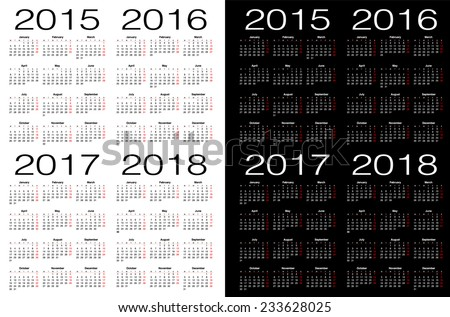 2015, 2016, 2017. 2018 year calendars. - stock vector