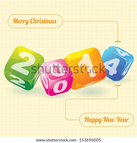 2014 year (design element for calendar, greeting cards, sales stickers) - stock vector