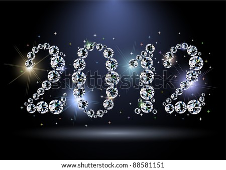 2012 year diamond digits with sparkles - eps10 vector - stock vector