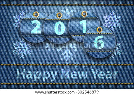 2016 year digits and Happy New Year greetings on blue jeans background. Vector illustration - stock vector