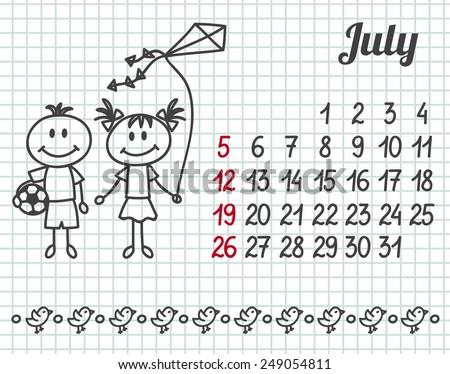 2015 year hand-drawn calendar (week starts on Sunday). July. - stock vector