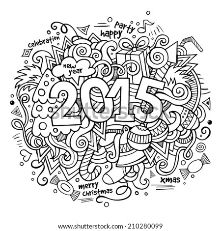 2015 year hand lettering and doodles elements background. Vector illustration - stock vector