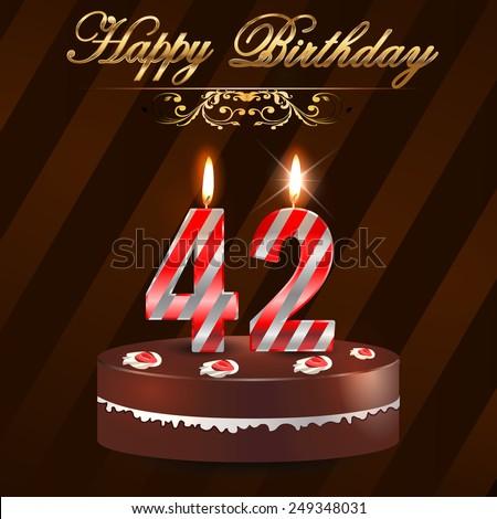 42 Year Happy Birthday Card Cake Stock Vector 249348031