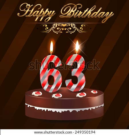 63 Year Happy Birthday Card Cake Stock Vector 249350194
