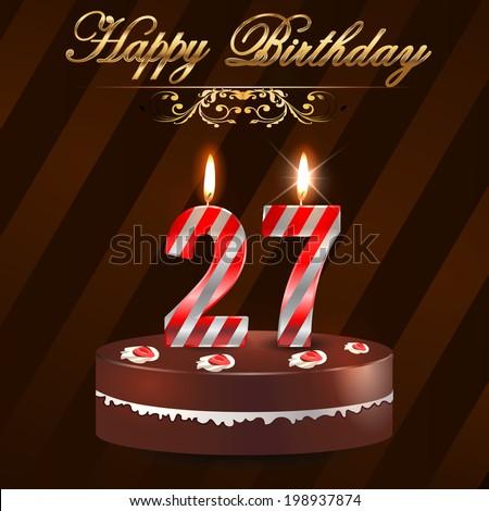 27 Year Happy Birthday Card Cake Stock Vector 198937874 Shutterstock