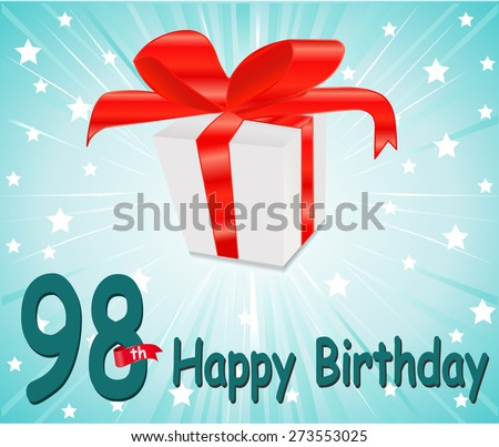 98 year Happy Birthday Card with gift and colorful background in vector EPS10 - stock vector