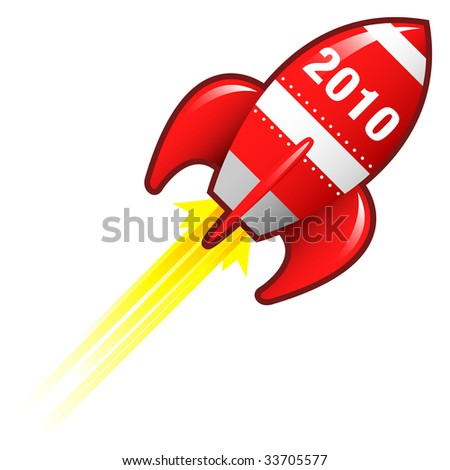 2010 year icon on red retro rocket ship illustration good for use as a button, in print materials, or in advertisements. - stock vector
