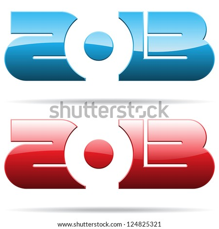 2013 year metallic signs - stock vector