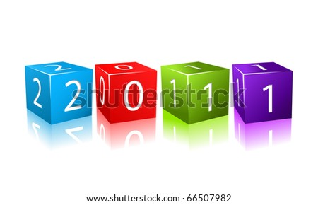 2011 year numbers on colorful cubes. Illustration isolated on white background