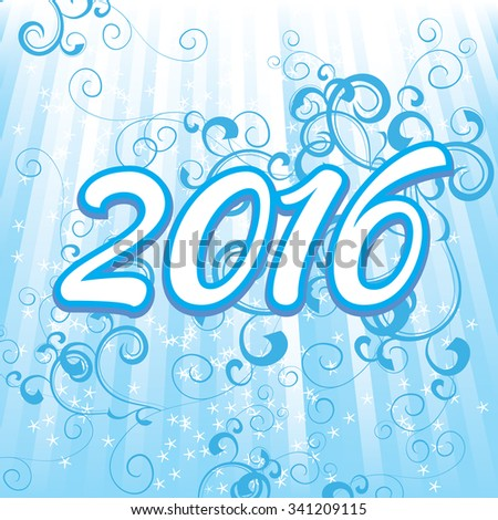 2016 year numbers on cyan background - stock vector