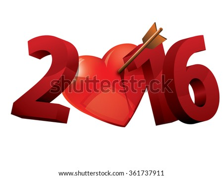 2016 Year of love. 2016 heart love typography.  - stock vector
