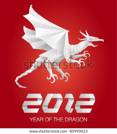 2012 Year of the Dragon - Detailed Origami Style - stock vector